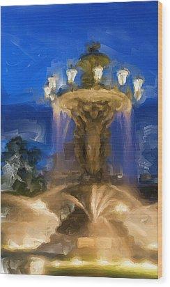 Fountain At Dusk Wood Print by Ayse Deniz