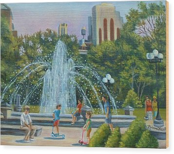 Fountain At Washington Square Park New York Wood Print