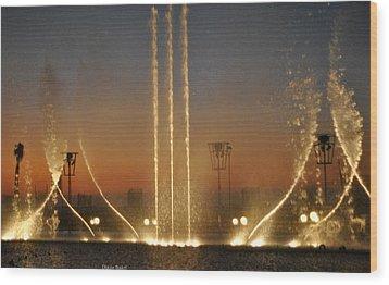 Fountain Wood Print by Diaae Bakri