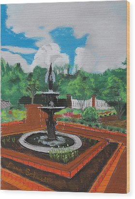 Fountain In Ga Official Botanical Garden At Athens Wood Print