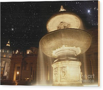 Fountain Of San Peter Wood Print by Sandro Rossi