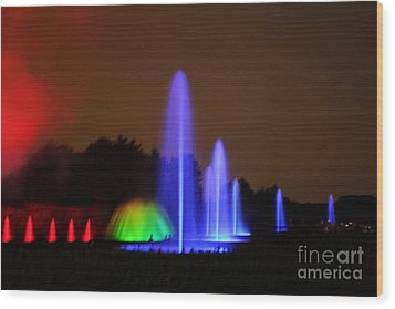 Fountain Show At Longwood Gardens Wood Print by Vadim Levin