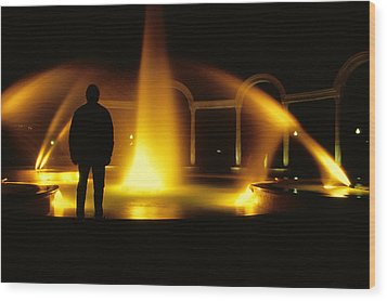 Wood Print featuring the photograph Fountain Silhouette by Jason Politte