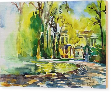 Fountain Spray - Brussels In Spring Wood Print by Anna Lobovikov-Katz