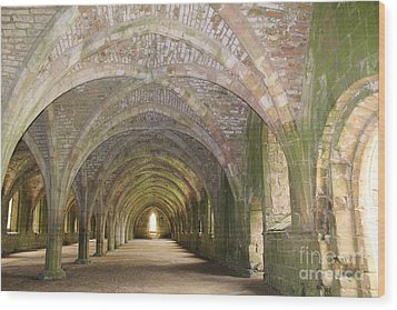 Fountains Abbey Cellarium  Wood Print by David Grant