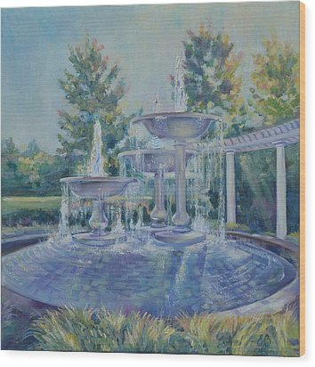 Fountains At Noon Wood Print by Elena Broach