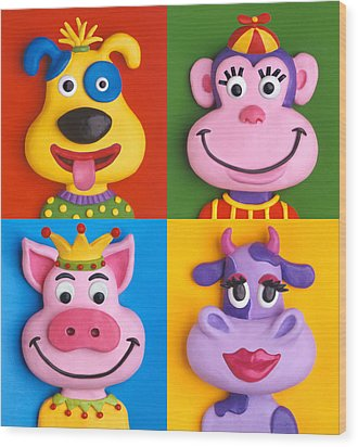 Four Animal Faces Wood Print by Amy Vangsgard
