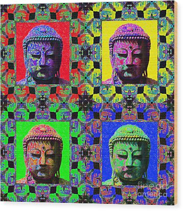 Four Buddhas 20130130 Wood Print by Wingsdomain Art and Photography
