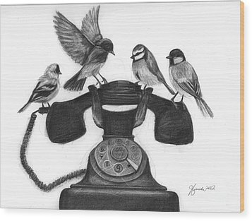 Four Calling Birds Wood Print