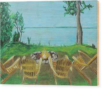 Wood Print featuring the painting Four Chairs by Jeanne Fischer
