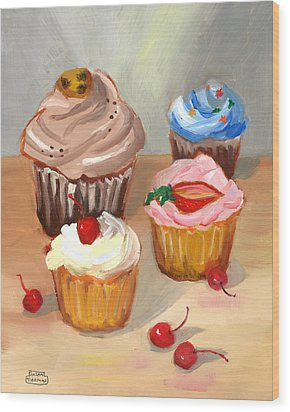 Wood Print featuring the painting Four Cupcakes by Susan Thomas