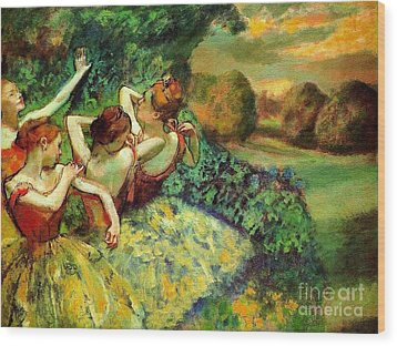 Four Dancers Wood Print by Pg Reproductions