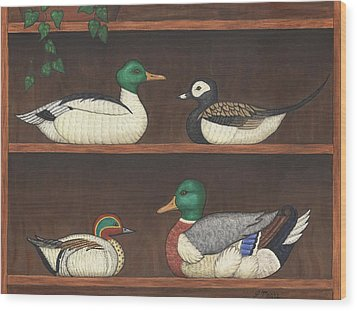 Four Duck Decoys Wood Print by Linda Mears