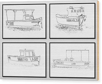 Four Fishing Boats Of Aruba Wood Print