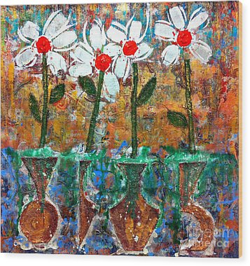Four Flowers Four Vessels Wood Print by Cleaster Cotton