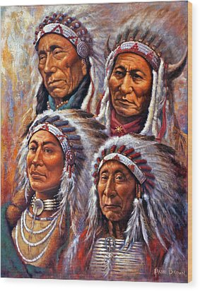 Wood Print featuring the painting Four Great Lakota Leaders by Harvie Brown