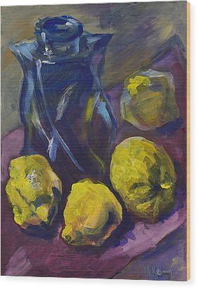Four Lemons And A Blue Vase Wood Print
