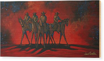 Four On The Hill Wood Print by Lance Headlee