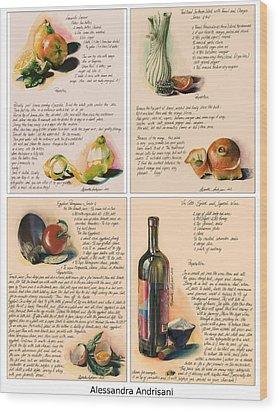 Four Painted Recipes Wood Print by Alessandra Andrisani