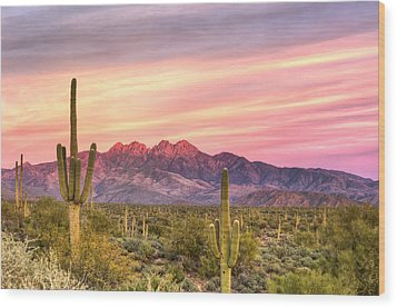 Four Peaks Sunset Wood Print