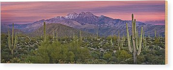 Four Peaks Sunset Panorama Wood Print