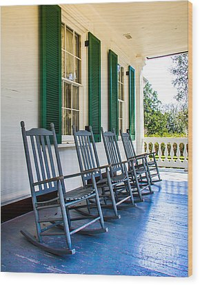Four Porch Rockers Wood Print by Perry Webster