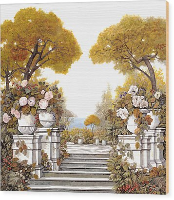 four seasons-autumn on lake Maggiore Wood Print by Guido Borelli