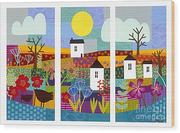 Wood Print featuring the painting Four Seasons by Carla Bank