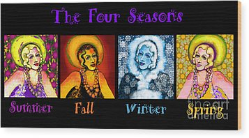 Four Seasons In A Row Wood Print by Carol Jacobs