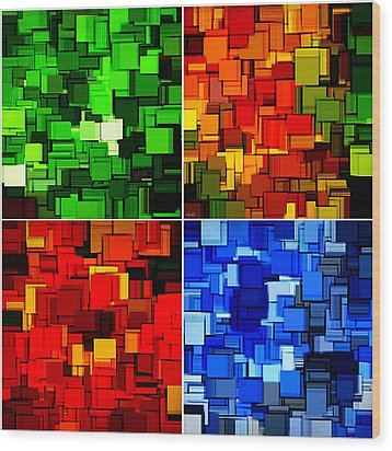 Four Seasons In Abstract II Wood Print by Lourry Legarde