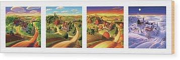 Four Seasons On The Farm Wood Print by Robin Moline