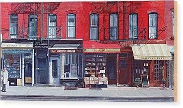 Four Shops On 11th Ave Wood Print by Anthony Butera
