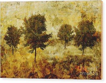 Four Trees Wood Print by John Edwards