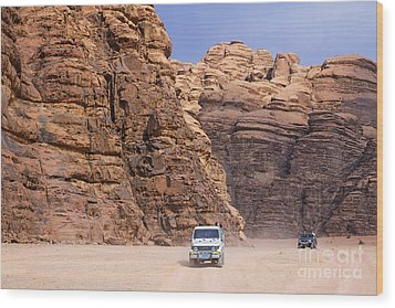 Four Wheel Drive Vehicles At Wadi Rum Jordan Wood Print by Robert Preston