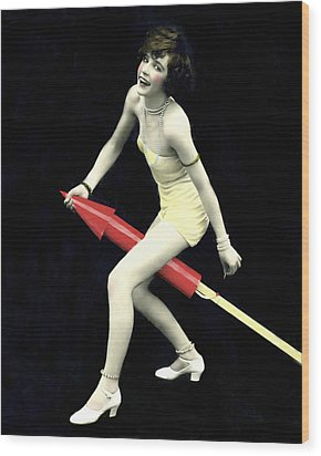 Fourth Of July Rocket Girl Wood Print by Underwood Archives