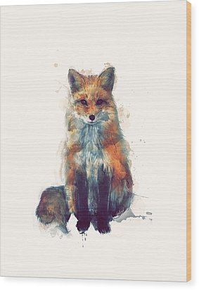 Fox Wood Print by Amy Hamilton