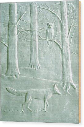 Fox And Owl In The Winter Woods Wood Print by Deborah Dendler