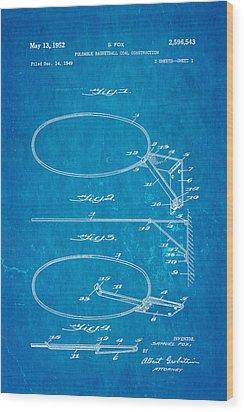 Fox Foldable Basketball Goal Patent Art 1952 Blueprint Wood Print by Ian Monk
