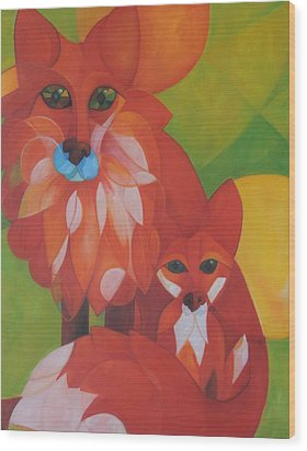 Fox Haven Wood Print by Denise Fisher