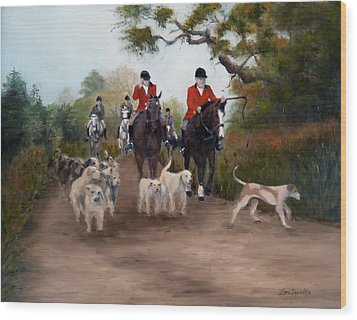 Wood Print featuring the painting Fox Hunt by Lori Ippolito
