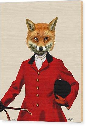 Fox Hunter 2 Portrait Wood Print by Kelly McLaughlan
