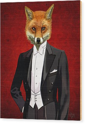 Fox In A Evening Suit Wood Print by Kelly McLaughlan