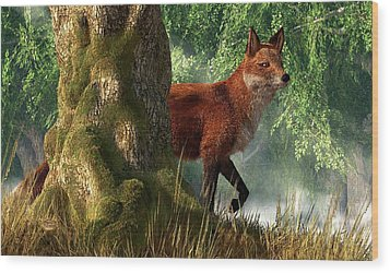 Fox In A Forest Wood Print by Daniel Eskridge