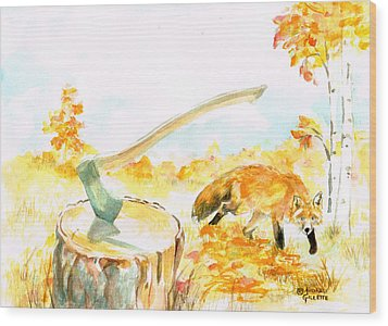 Wood Print featuring the painting Fox In Autumn by Andrew Gillette
