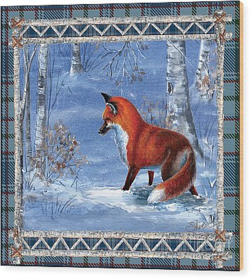 Fox In The Birch Woods Wood Print