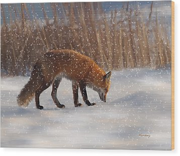 Fox In The Snow Wood Print