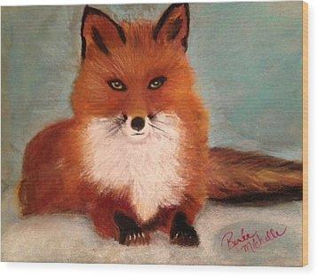 Fox In The Snow Wood Print by Renee Michelle Wenker