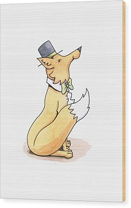 Fox In Top Hat Wood Print by Christy Beckwith