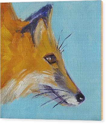 Fox Wood Print by Nancy Merkle