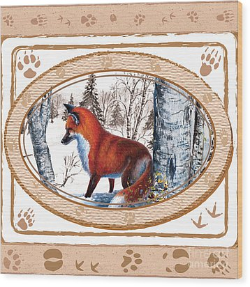 Fox On The Trail Wood Print
